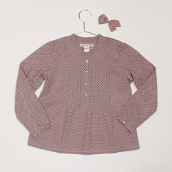 Bonpoint Taupe Polka Dot Blouse With Pintuck Detail