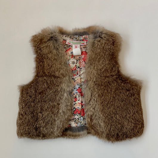 Bonpoint Rabbit Fur Gilet With Liberty Print Lining: 2 Years