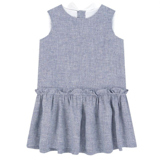 Il Gufo Blue And White Linen Dress With Bow: 4 years, 12 years