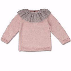 Shirley Bredal Merino Wool Rose Jumper With Contrast Collar: 2 Years