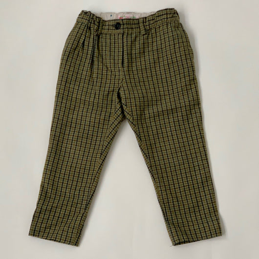 Bonpoint Green Wool Tartan Trousers: 3 Years