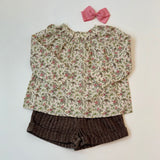 Bonpoint Brown Tweed Shorts With Liberty Print Trim: 4 Years