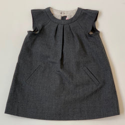Bonpoint Grey Wool Dress With Flutter Sleeves: 18 Months