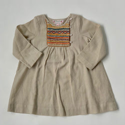 Bonpoint Taupe Wool Mix Dress With Contrast Smocking: 2 Years
