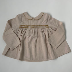 Bonpoint Oatmeal Blouse With Ochre Smocking: 2 Years