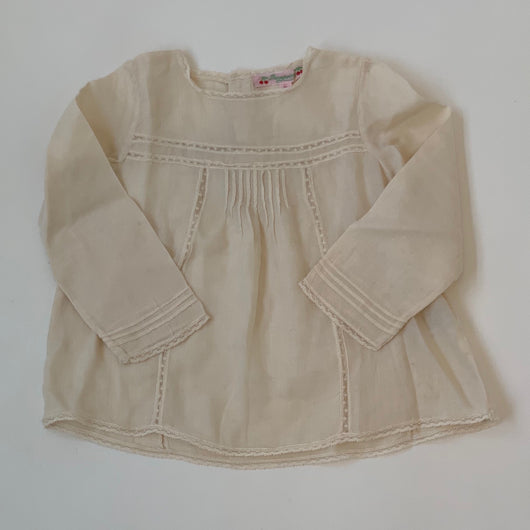 Bonpoint Cream Cotton Blouse With Lace Trim: 2 Years