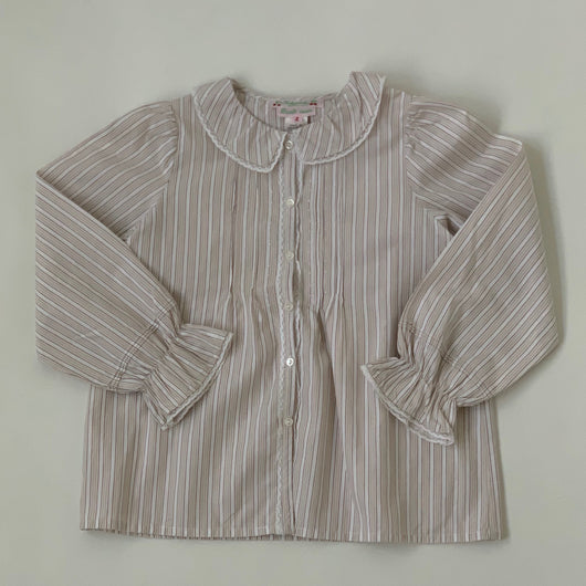 Bonpoint Taupe Stripe Blouse With Lace Trim : 4 Years