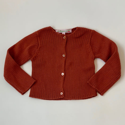 Bonpoint Brick Ribbed Cotton Cardigan: 12 Months