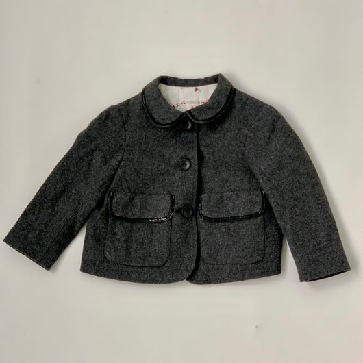Bonpoint Grey Wool/ Cashmere Mix Jacket With Patent Trim: 3 Years
