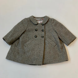Bonpoint Grey Metallic Wool Coat: 6 Months