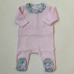 Jacadi Pale Pink Velour All-In-One With Liberty Print Collar: 3 Months & 18 Months