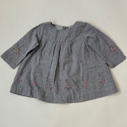 Bonpoint Grey Brushed Cotton Dress With Pink Embroidery: 12 Months