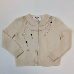 Bonpoint Cream Embellished Cashmere Cardigan: 3 Years