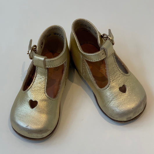Bonpoint Gold T-Bar Shoes: Size 19