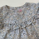 La Coqueta Blue Floral Print Blouse With Frill: 2 Years