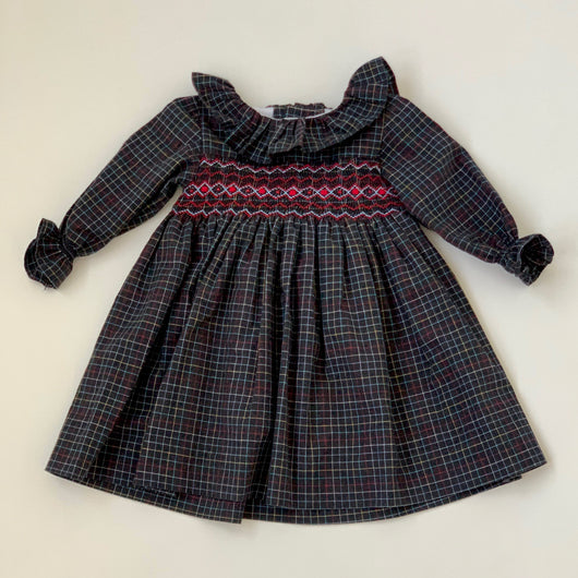 La Coqueta Navy Tartan Smocked Dress With Collar: 2 Years