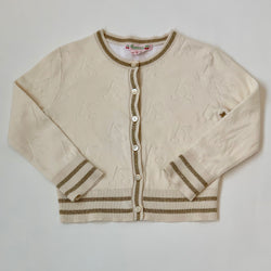 Bonpoint Cream Cherry Print Cardigan With Gold Trim: 3 Years