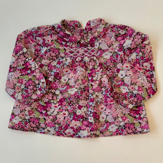 Bonpoint Purple Toned Liberty Print Blouse With Smocking : 2 Years