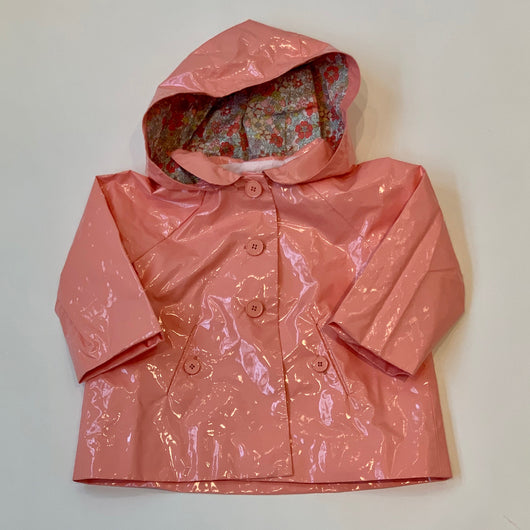 Bonpoint Apricot Raincoat With Liberty Print Hood: 18 Months