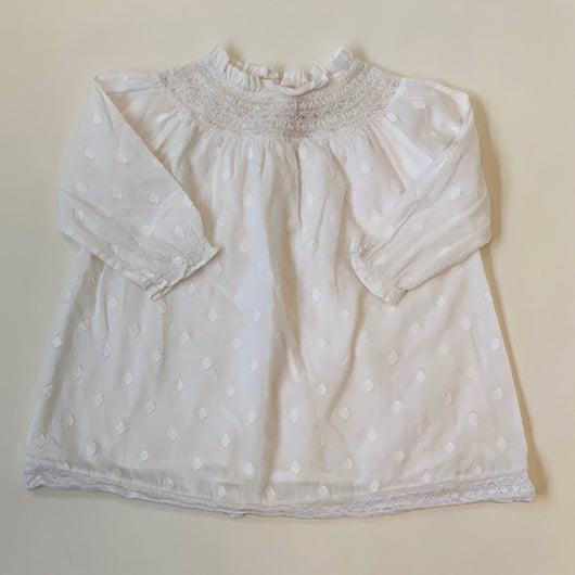 Bonpoint White Polka Dot Dress With Lace Trim: 2 Years