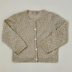 Bonpoint Cream And Gold Polka Dot Wool Cardigan: 2 Years