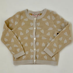 Bonpoint Cream And Gold Heart Print Cardigan: 2 Years