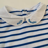 Jacadi Blue And White Stripe Bodysuit With Collar: 24 Months