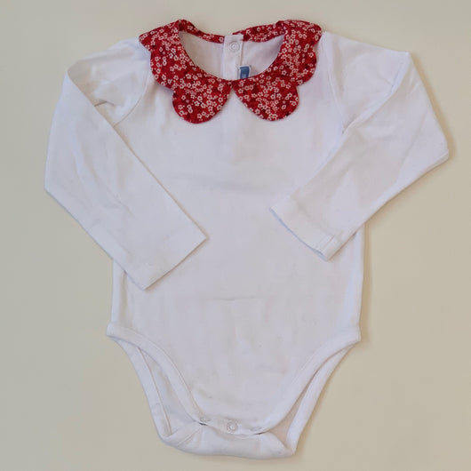 Jacadi White Bodysuit With Liberty Print Collar: 24 Months
