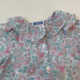 Jacadi Pale Blue, Grey And Pink Liberty Print Blouse: 18 Months
