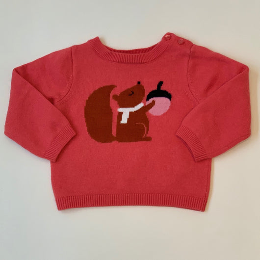 Jacadi Pink Sweater With Squirrel Motif: 18 Months