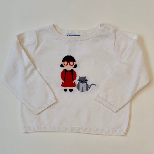 Jacadi White Sweater With Motif: 18 Months