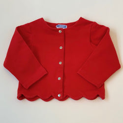 Jacadi Red Thick Cotton Cardigan With Scallop Hem: 24 Months