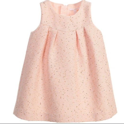 Chloé Pink Tweed Dress With Sequins: 18 Months