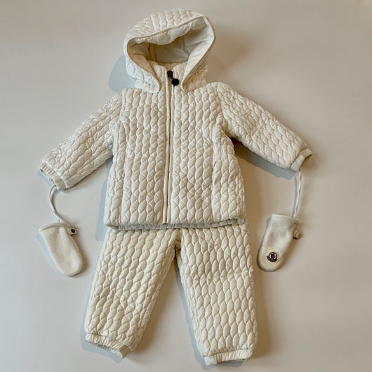 Moncler White Down Filled Jacket And Trousers: 12-18 Months