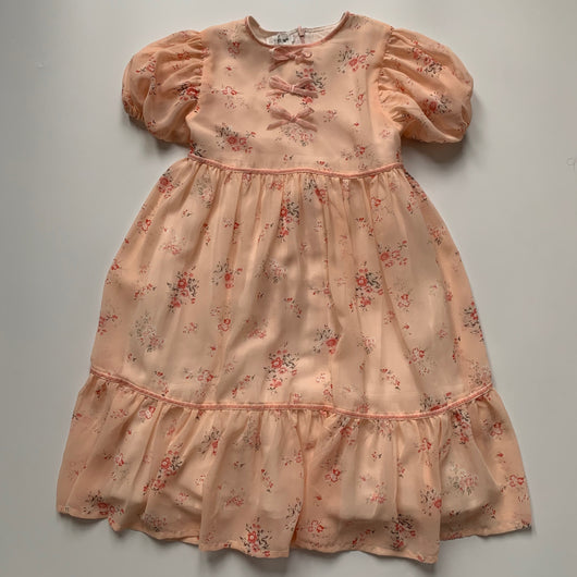 Luxelim Peach Floral Dress With Velvet Trim: 10 Years