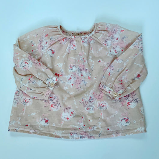 Bonpoint Pink Floral Print Blouse: 12 Months & 2 Years