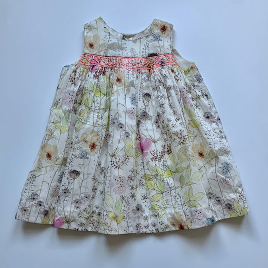 Bonpoint Lime Floral Print Sleeveless Dress With Neon Smocking: 18 Months (Brand New)