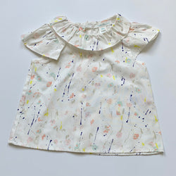 Marie-Chantal Splatter Print Blouse With Collar: 24 Months