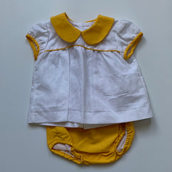 La Coqueta x Sabine Getty White And Yellow Linen Set: 6 Months (Brand New)