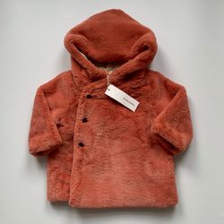 Caramel Apricot Faux Fur Coat With Hood: 18 Months (Brand New)