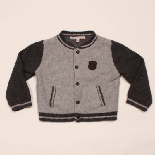 Bonpoint Grey Varsity Style Angora/ Wool Mix Cardigan: 2 Years