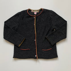Bonpoint Grey Wool Cardigan With Mustard And Maroon Rolled Hem: 18 Months