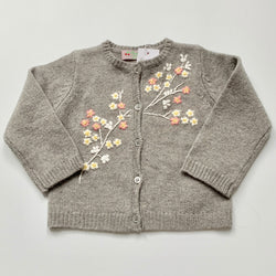 Bonpoint Grey Wool Cardigan With Floral Embroidery: 18 Months (Brand New)