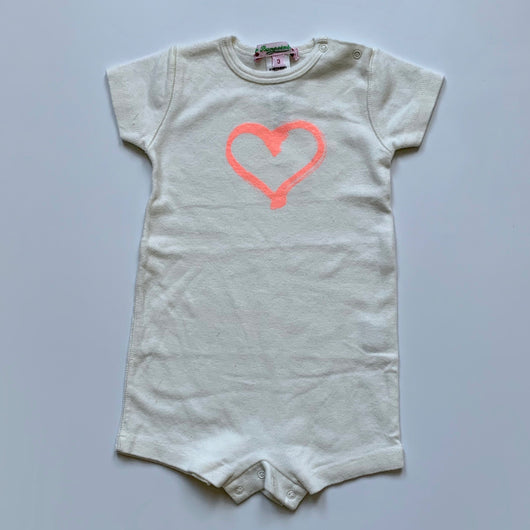Bonpoint Cream Short All-In-One With Heart Motif: 3 Months