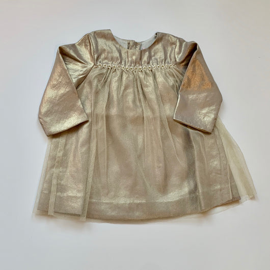 Bonpoint Gold Tulle Dress With Daisy Trim: 12 Months (Brand New With Tags)