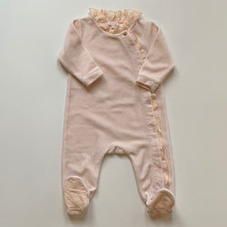 Chloé Pink Velour All-In-One With Frill Trim: 6 Months