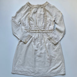 Bonpoint Winter White Wool/ Cotton Mix Dress With Lace Trim: 12 Years