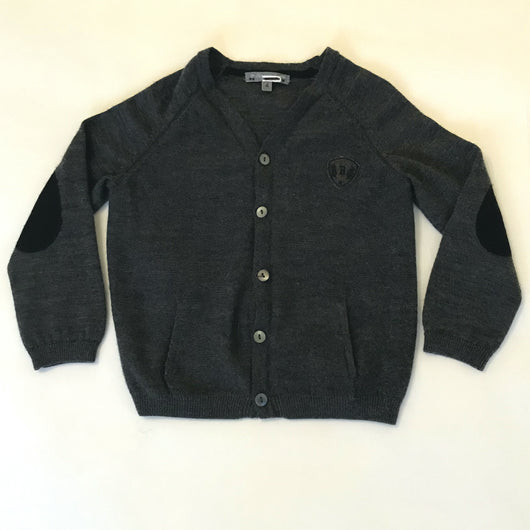 Bonpoint Dark Grey Wool Cardigan With Contrast Elbow Patches