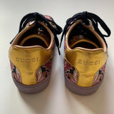 Gucci Metallic Floral Print Sneakers: Size 35.5