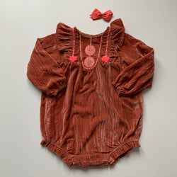 Louise Misha Rust Velvet Romper: 2 Years (Brand New)